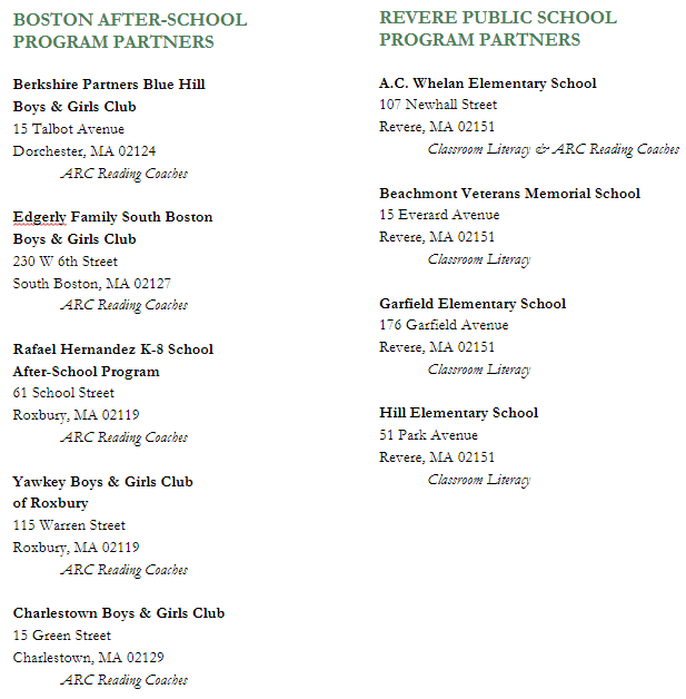 Boston After-School Program Partners and Revere Public School Program Partners